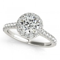Round Diamond Halo Engagement Ring 18k White Gold (1.33ct)