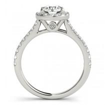 Round Diamond Halo Engagement Ring 18k White Gold (1.33ct)