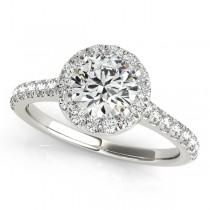 Round Diamond Halo Bridal Ring Set 14k White Gold (1.57ct)