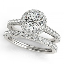 Round Diamond Halo Bridal Ring Set 18k White Gold (1.57ct)