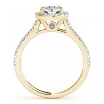 Round Diamond Halo Bridal Ring Set 18k Yellow Gold (1.57ct)