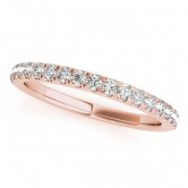 Diamond Curved Prong Wedding Band 18k Rose Gold (0.24ct)