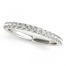 Diamond Curved Prong Wedding Band 18k White Gold (0.24ct)