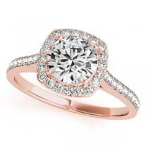 Diamond Accented Halo Engagement Ring in 14k Rose Gold (1.33ct)