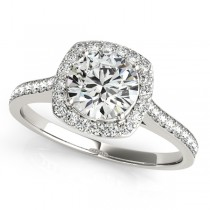 Diamond Accented Halo Engagement Ring in 14k White Gold (1.33ct)