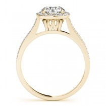 Diamond Accented Halo Engagement Ring in 14k Yellow Gold (1.33ct)
