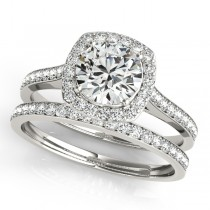 Diamond Accented Round Cut Halo Bridal Set in 14k White Gold (1.53ct)