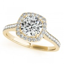 Diamond Accented Round Cut Halo Bridal Set in 14k Yellow Gold (1.53ct)