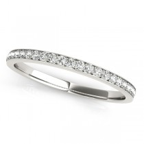 Semi Eternity Pave Diamond Wedding Band in 14k White Gold (0.20ct)