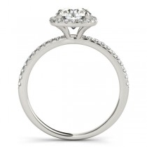 Square Halo Diamond Engagement Ring Setting in 14k White Gold 0.20ct