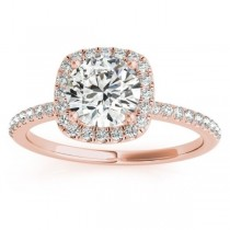 Square Halo Lab Grown Diamond Engagement Ring Setting in 14k Rose Gold 0.20ct