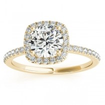 Square Halo Lab Grown Diamond Engagement Ring Setting in 14k Yellow Gold 0.20ct