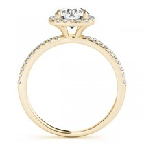 Square Halo Lab Grown Diamond Engagement Ring Setting 18k Yellow Gold (0.20ct)