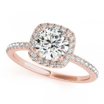 Square Halo Round Diamond Engagement Ring 14k Rose Gold 1.00ct