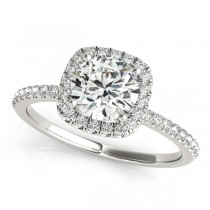 Square Halo Round Diamond Engagement Ring 14k White Gold 1.00ct