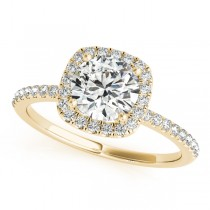 Square Halo Round Diamond Engagement Ring 14k Yellow Gold 1.00ct