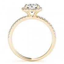Square Halo Round Diamond Engagement Ring 14k Yellow Gold 1.75ct