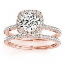 Square Halo Diamond Bridal Setting Ring & Band 18k Rose Gold (0.33ct)