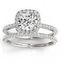 Square Halo Diamond Bridal Setting Ring & Band Platinum (0.33ct)