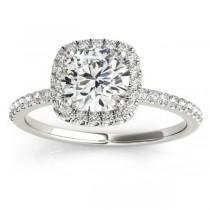 Square Halo Diamond Bridal Setting Ring & Band Platinum (0.33ct)