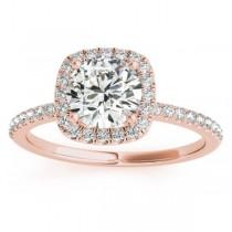 Square Halo Lab Grown Diamond Bridal Set Ring Setting & Band 14k Rose Gold 0.35ct