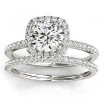 Square Halo Lab Grown Diamond Bridal Set Ring Setting & Band 14k W. Gold 0.33ct