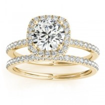 Square Halo Lab Grown Diamond Bridal Set Ring Setting & Band 14k Y. Gold 0.35ct