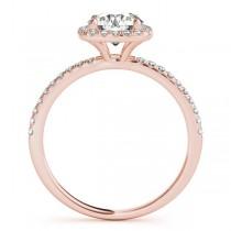 Square Halo Lab Grown Diamond Bridal Setting Ring & Band 18k Rose Gold (0.33ct)