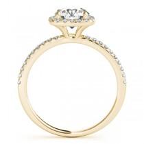 Square Halo Lab Grown Diamond Bridal Setting Ring & Band 18k Yellow Gold (0.33ct)