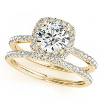 Square Halo Round Diamond Bridal Set Ring & Band 14k Yellow Gold 1.13ct