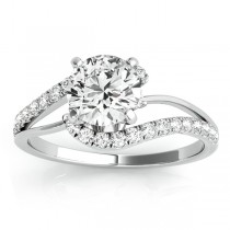 Diamond Split Shank Engagement Ring Setting 14k White Gold (0.31ct)