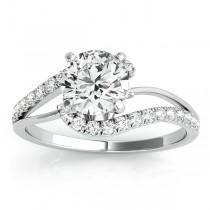Diamond Split Shank Engagement Ring Setting 14k White Gold (0.31ct)