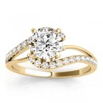 Diamond Split Shank Engagement Ring Setting 14k Yellow Gold (0.31ct)