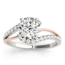 Diamond Split Shank Engagement Ring Setting 18k Two-Tone Gold (0.31ct)