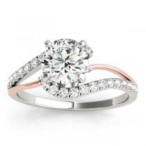 Diamond Split Shank Bridal Set Setting 14k Two-Tone Gold (0.52ct)