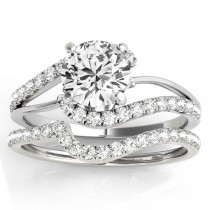Diamond Split Shank Bridal Set Setting 14k White Gold (0.52ct)