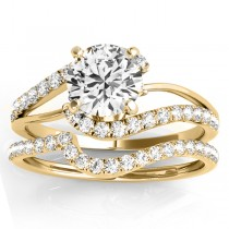Diamond Split Shank Bridal Set Setting 14k Yellow Gold (0.52ct)