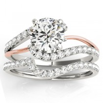 Diamond Split Shank Bridal Set Setting 18k Two-Tone Gold (0.52ct)