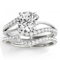 Diamond Split Shank Bridal Set Setting 18k White Gold (0.52ct)
