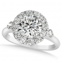 Diamond Circle Halo Preset Engagement Ring 14k White Gold (1.50ct)