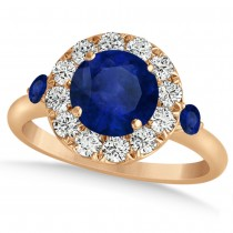 Blue Sapphire & Diamond Halo Engagement Ring 14k Rose Gold (1.50ct)