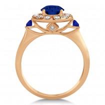 Blue Sapphire & Diamond Halo Engagement Ring 14k Rose Gold (1.50ct)