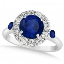 Blue Sapphire & Diamond Halo Engagement Ring 14k White Gold (1.50ct)