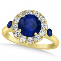Blue Sapphire & Diamond Halo Engagement Ring 14k Yellow Gold (1.50ct)