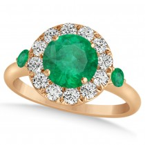 Emerald & Diamond Halo Engagement Ring 14k Rose Gold (1.50ct)