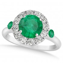Emerald & Diamond Halo Engagement Ring 14k White Gold (1.50ct)