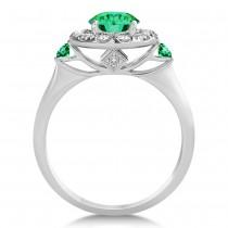 Emerald & Diamond Halo Engagement Ring 14k White Gold (1.50ct)