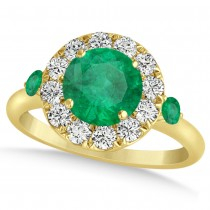 Emerald & Diamond Halo Engagement Ring 14k Yellow Gold (1.50ct)