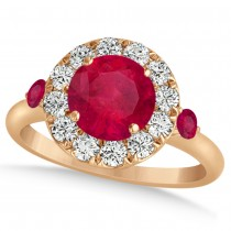 Ruby & Diamond Halo Engagement Ring 14k Rose Gold (1.50ct)