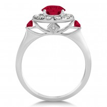 Ruby & Diamond Halo Engagement Ring 14k White Gold (1.50ct)